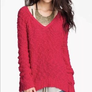 Free People 🌟 Red Songbird Sweater